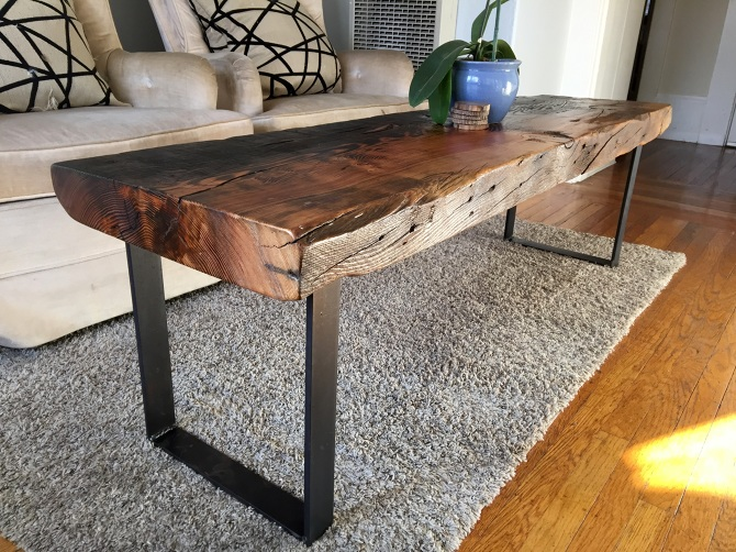 Torched Old Growth Douglas Fir Bench Coffee Table